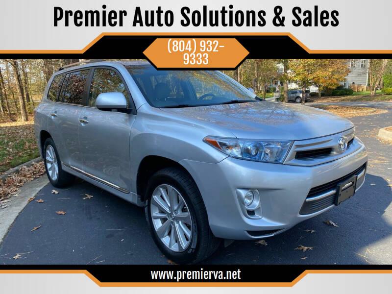 2013 Toyota Highlander Hybrid for sale at Premier Auto Solutions & Sales in Quinton VA