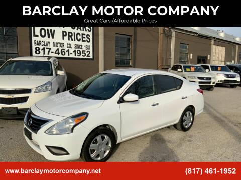 2017 Nissan Versa for sale at BARCLAY MOTOR COMPANY in Arlington TX