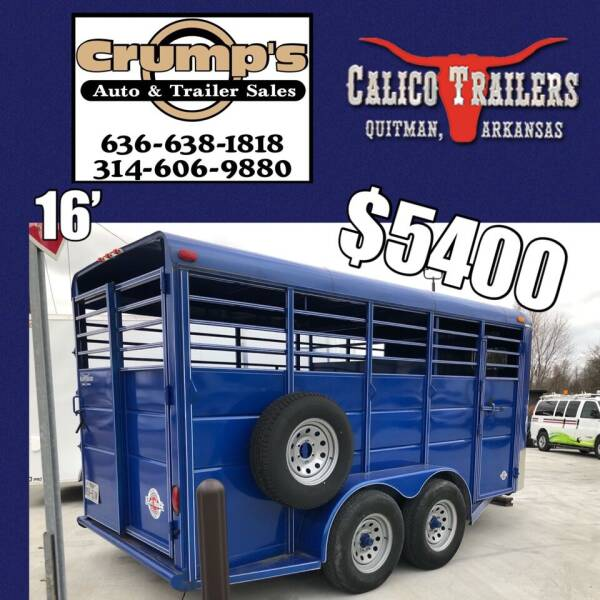 2018 Calico 16' Stock Trailer for sale at CRUMP'S AUTO & TRAILER SALES in Crystal City MO