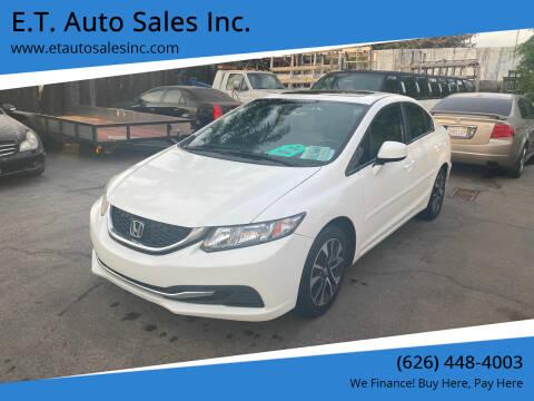 2013 Honda Civic for sale at E.T. Auto Sales Inc. in El Monte CA