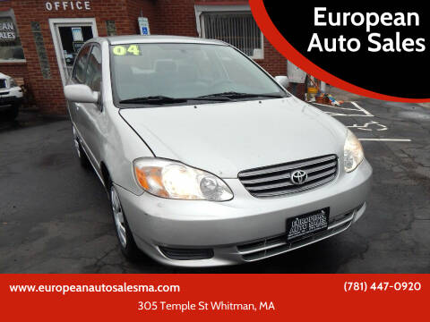 2004 Toyota Corolla for sale at European Auto Sales in Whitman MA