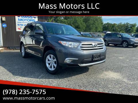 2012 Toyota Highlander for sale at Mass Motors LLC in Worcester MA