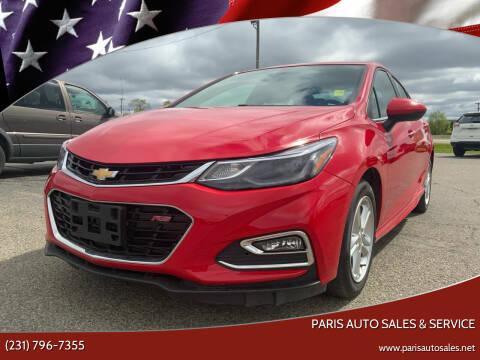 2018 Chevrolet Cruze for sale at Paris Auto Sales & Service in Big Rapids MI