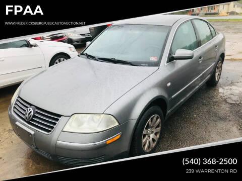 2003 Volkswagen Passat for sale at FPAA in Fredericksburg VA