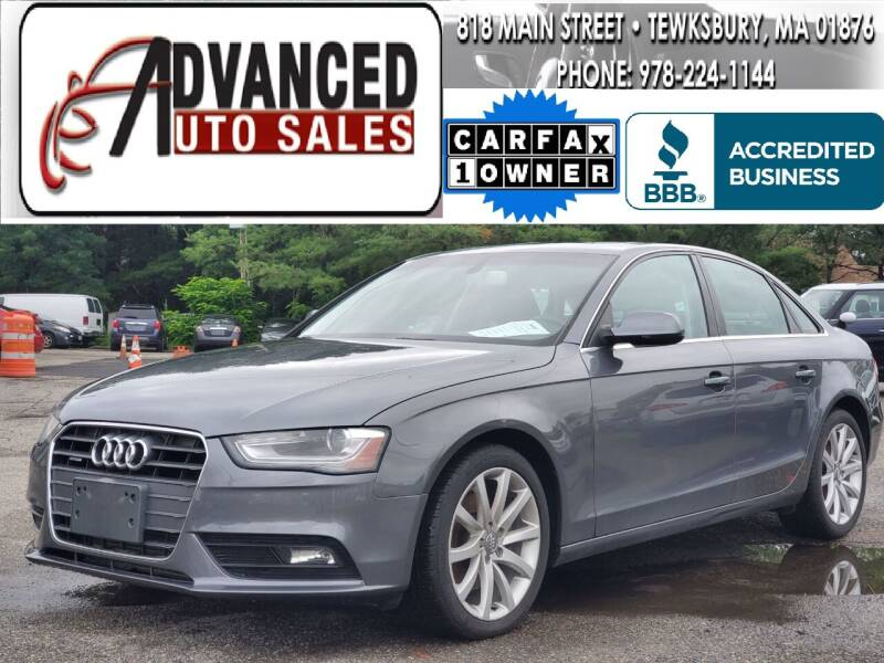 2013 Audi A4 for sale at Advanced Auto Sales in Dracut MA