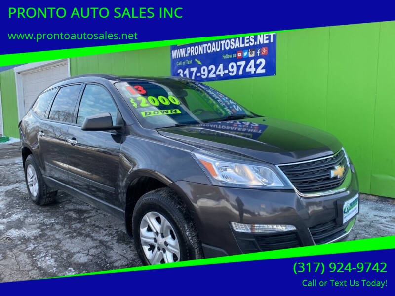2013 Chevrolet Traverse for sale at PRONTO AUTO SALES INC in Indianapolis IN