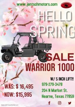 2020 BENNCHE WARRIOR 1000 W/ 5 INCH LIFT! for sale at JENTSCH MOTORS in Hearne TX