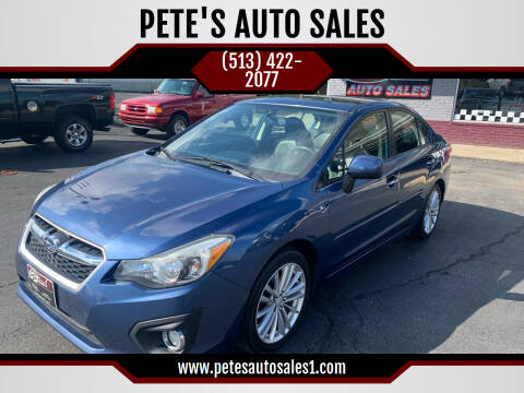 2012 Subaru Impreza for sale at PETE'S AUTO SALES LLC - Middletown in Middletown OH