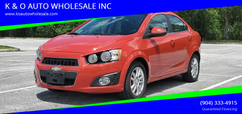 2013 Chevrolet Sonic for sale at K & O AUTO WHOLESALE INC in Jacksonville FL