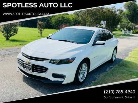 2018 Chevrolet Malibu for sale at SPOTLESS AUTO LLC in San Antonio TX