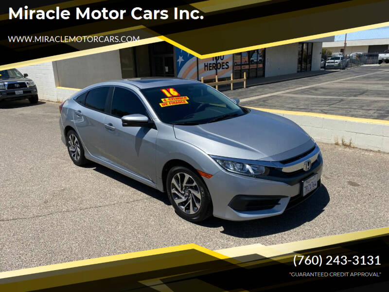 2016 Honda Civic for sale at Miracle Motor Cars Inc. in Victorville CA