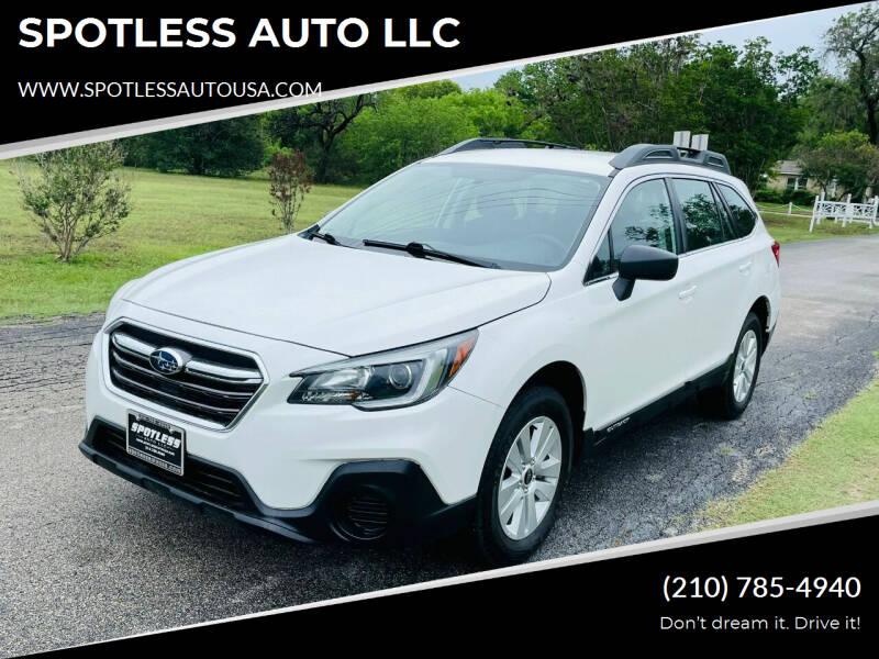 2018 Subaru Outback for sale at SPOTLESS AUTO LLC in San Antonio TX
