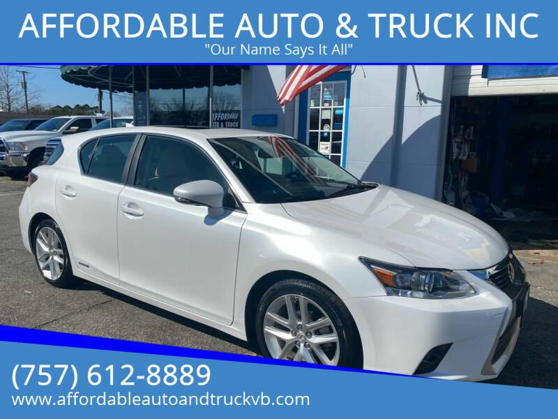 2015 Lexus CT 200h for sale at AFFORDABLE AUTO & TRUCK INC in Virginia Beach VA