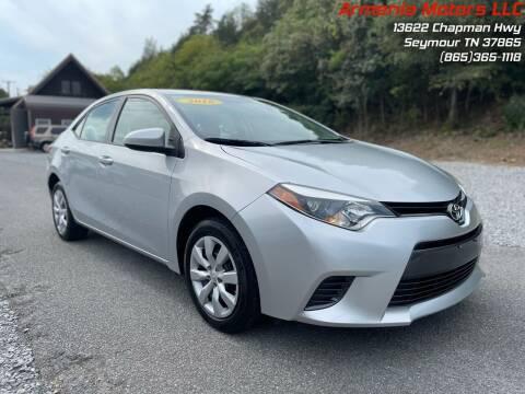2016 Toyota Corolla for sale at Armenia Motors in Seymour TN
