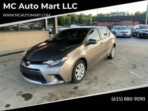 2016 Toyota Corolla for sale at MC Auto Mart LLC in Hermitage TN