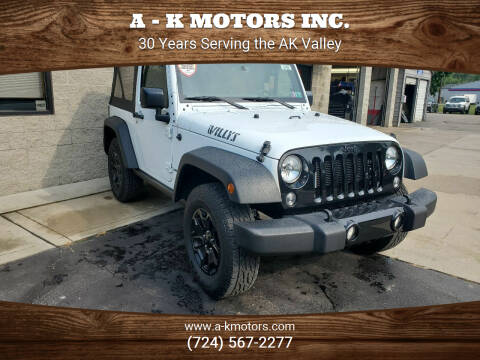 2017 Jeep Wrangler for sale at A - K Motors Inc. in Vandergrift PA