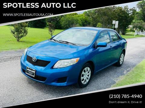 2010 Toyota Corolla for sale at SPOTLESS AUTO LLC in San Antonio TX