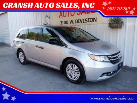 2014 Honda Odyssey for sale at CRANSH AUTO SALES, INC in Arlington TX