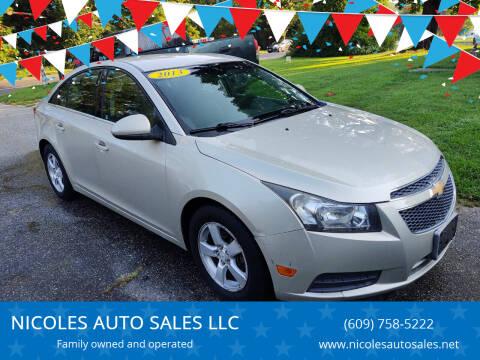 2013 Chevrolet Cruze for sale at NICOLES AUTO SALES LLC in Cream Ridge NJ