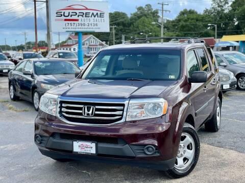 2013 Honda Pilot for sale at Supreme Auto Sales in Chesapeake VA
