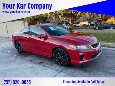 2015 Honda Accord for sale at Your Kar Company in Norfolk VA