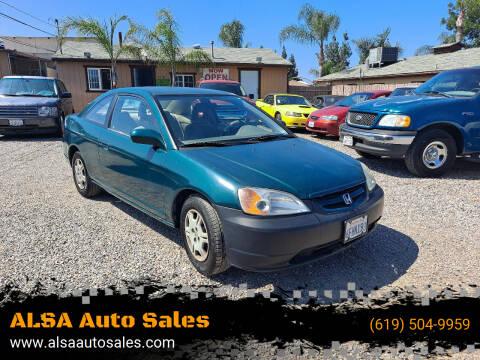 2001 Honda Civic for sale at ALSA Auto Sales in El Cajon CA