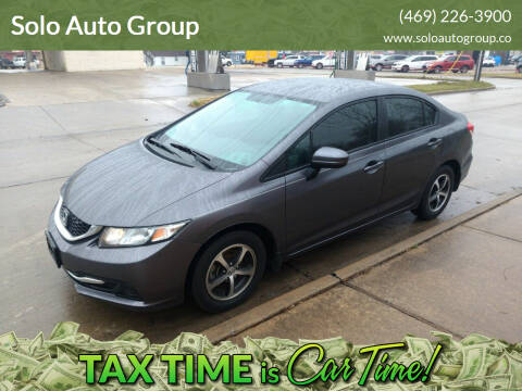 2015 Honda Civic for sale at Solo Auto Group in Mckinney TX