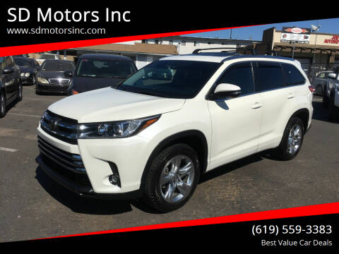 2019 Toyota Highlander for sale at SD Motors Inc in La Mesa CA
