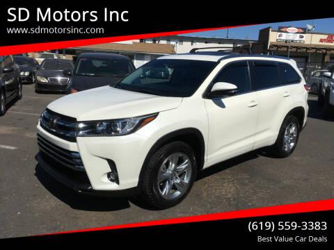 2019 Toyota Highlander for sale at SD Motors Inc in La Mesa CA