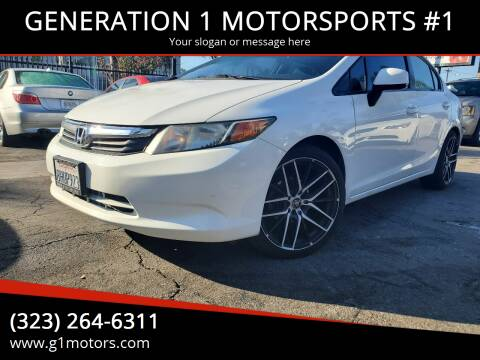 2012 Honda Civic for sale at GENERATION 1 MOTORSPORTS #1 in Los Angeles CA