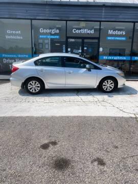 2012 Honda Civic for sale at Georgia Certified Motors in Stockbridge GA