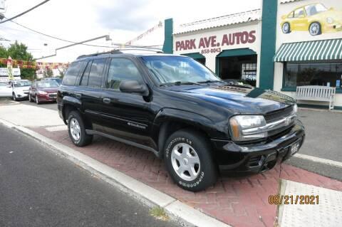 2002 Chevrolet TrailBlazer for sale at PARK AVENUE AUTOS in Collingswood NJ