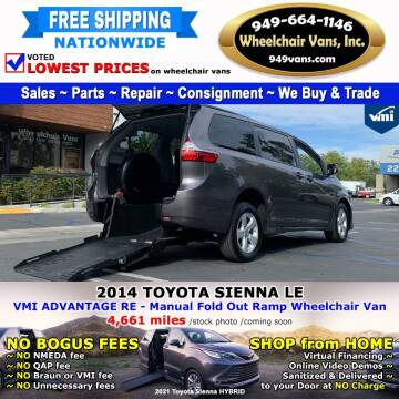 2014 Toyota Sienna for sale at Wheelchair Vans Inc - New and Used in Laguna Hills CA