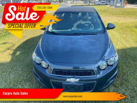2014 Chevrolet Sonic for sale at Carpro Auto Sales in Chesapeake VA