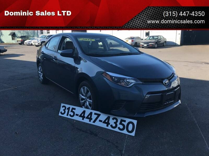 2016 Toyota Corolla for sale at Dominic Sales LTD in Syracuse NY