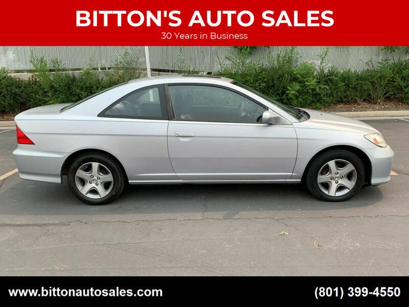 2004 Honda Civic for sale at BITTON'S AUTO SALES in Ogden UT