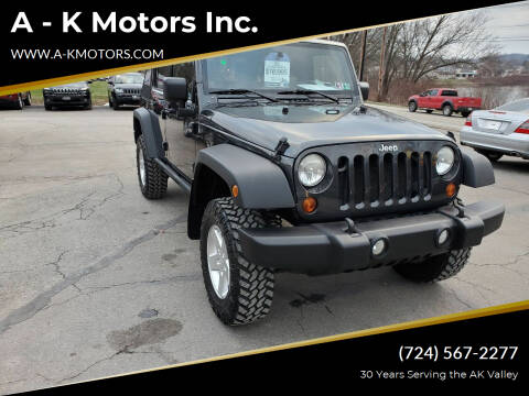2010 Jeep Wrangler Unlimited for sale at A - K Motors Inc. in Vandergrift PA