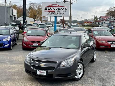 2012 Chevrolet Malibu for sale at Supreme Auto Sales in Chesapeake VA