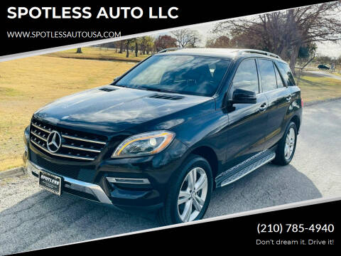 2013 Mercedes-Benz M-Class for sale at SPOTLESS AUTO LLC in San Antonio TX