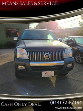 2008 Mercury Mountaineer for sale at MEANS SALES & SERVICE in Warren PA