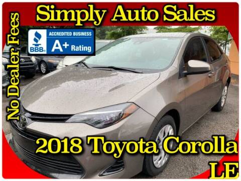2018 Toyota Corolla for sale at Simply Auto Sales in Palm Beach Gardens FL