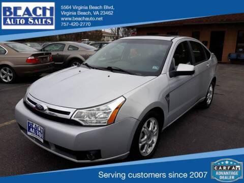 2008 Ford Focus for sale at Beach Auto Sales in Virginia Beach VA