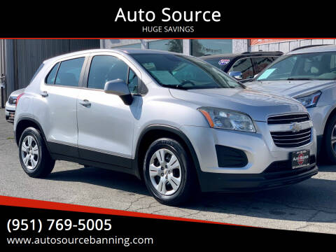 2015 Chevrolet Trax for sale at Auto Source in Banning CA