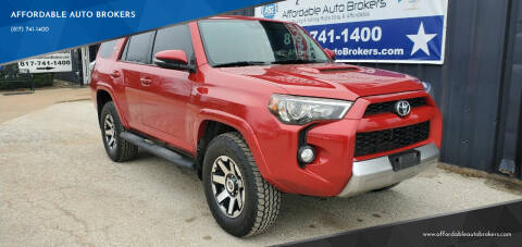 2018 Toyota 4Runner for sale at AFFORDABLE AUTO BROKERS in Keller TX