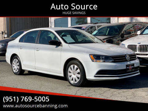 2016 Volkswagen Jetta for sale at Auto Source in Banning CA