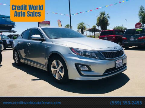 2016 Kia Optima Hybrid for sale at Credit World Auto Sales in Fresno CA