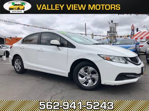 2013 Honda Civic for sale at Valley View Motors in Whittier CA