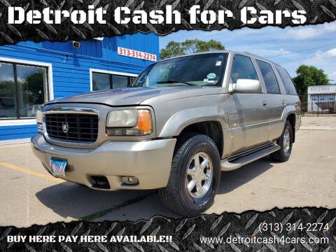 2000 Cadillac Escalade for sale at Detroit Cash for Cars in Warren MI