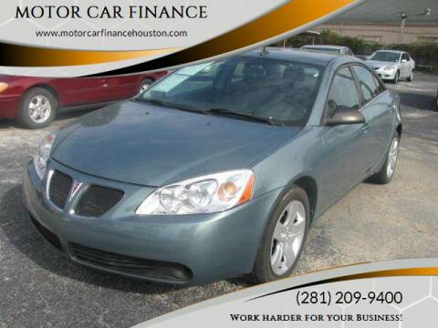 2009 Pontiac G6 for sale at MOTOR CAR FINANCE in Houston TX