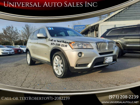 2012 BMW X3 for sale at Universal Auto Sales Inc in Salem OR